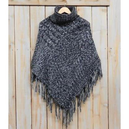 Patchwork Knit Poncho with Thick Fringe - Black White PFR456-BKW