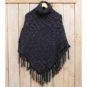 Patchwork Knit Poncho with Thick Fringe - Black PFR456-BLK