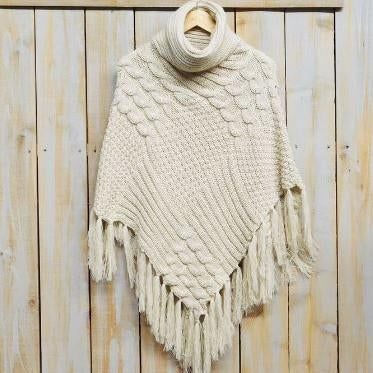 Patchwork Knit Poncho with Thick Fringe - Cream PFR456-CRM