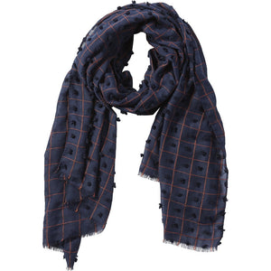 Navy Knotted Squares Scarf 810846