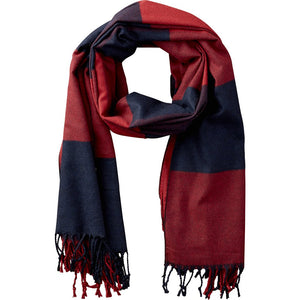 Red & Navy Carter Wool Plaid Scarf 810386
