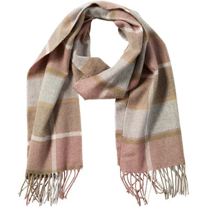 Pink Wool Plaid Fringe Scarf 810860