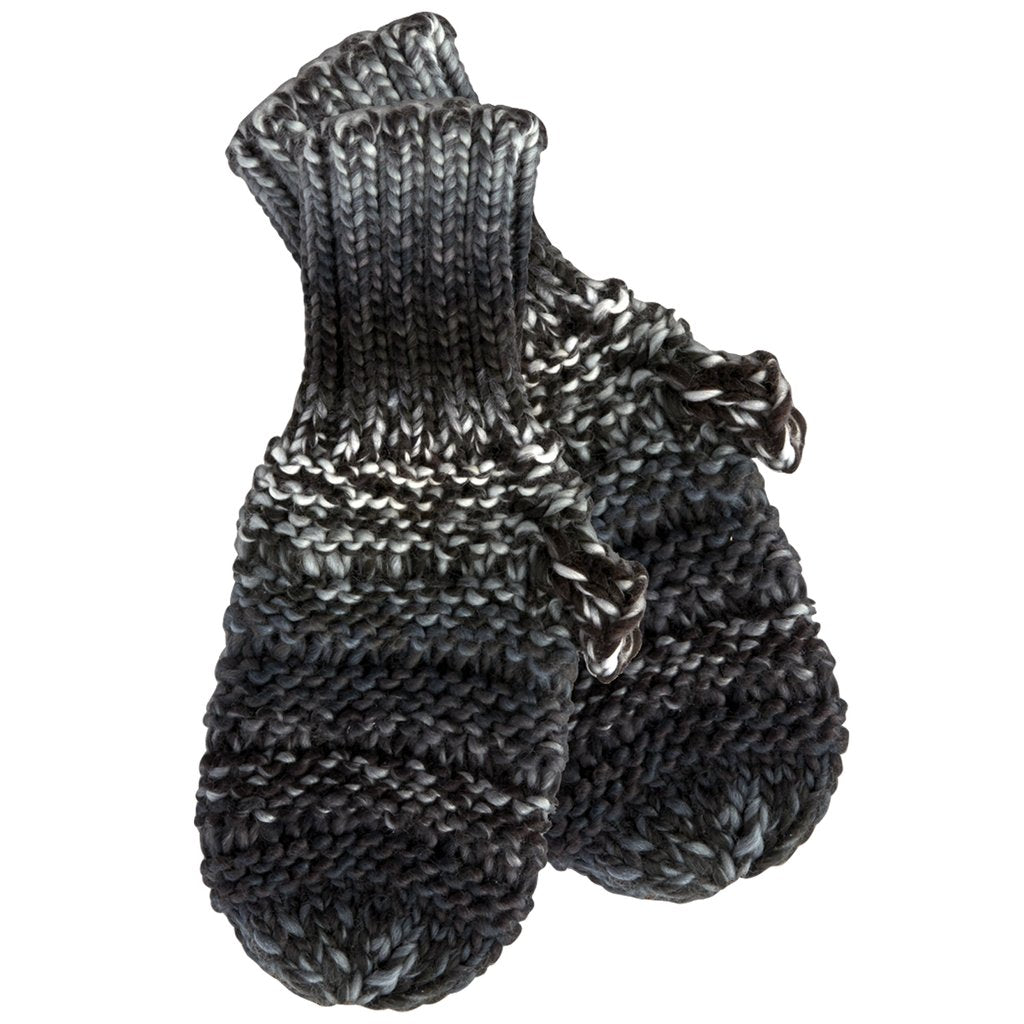 Ombre Knit Mittens - Black & White 804797