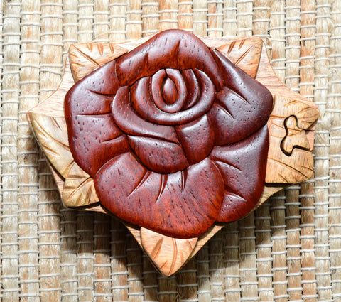 Keepsake Wood Puzzle Box - Rose PUZ1025