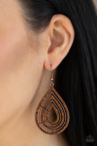 5th Avenue Attraction-copper-Paparazzi earrings