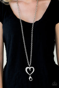 A Big Heart - white - Paparazzi Lanyard necklace