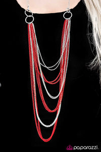 A For Asymmetrical - Red - Paparazzi necklace
