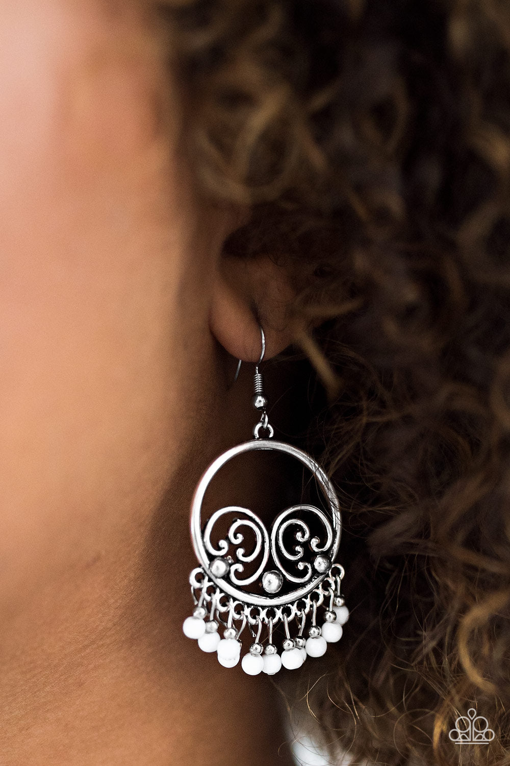 A Way of WILD life - white - Paparazzi earrings
