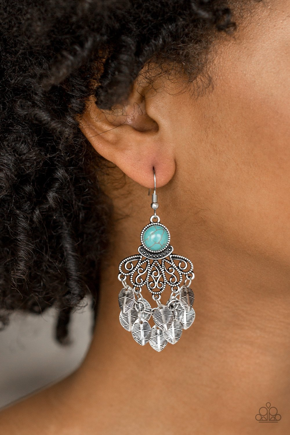 Dainty Brass Leaf Earrings with Turquoise Stones