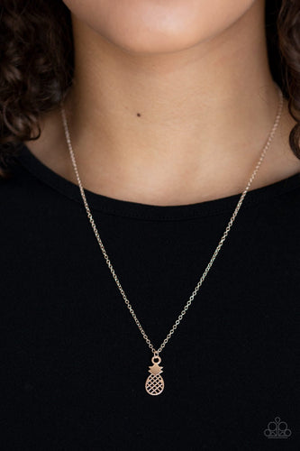 A Pineapple a Day - rose gold - Paparazzi necklace