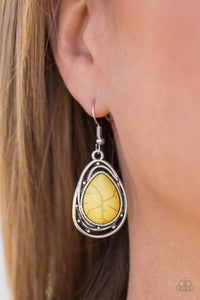 Abstract Anthropology - yellow - Paparazzi earrings