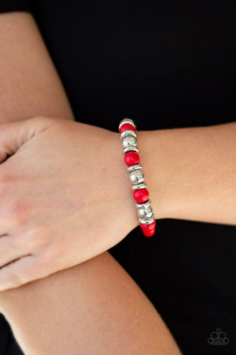 Across the Mesa - red - Paparazzi bracelet