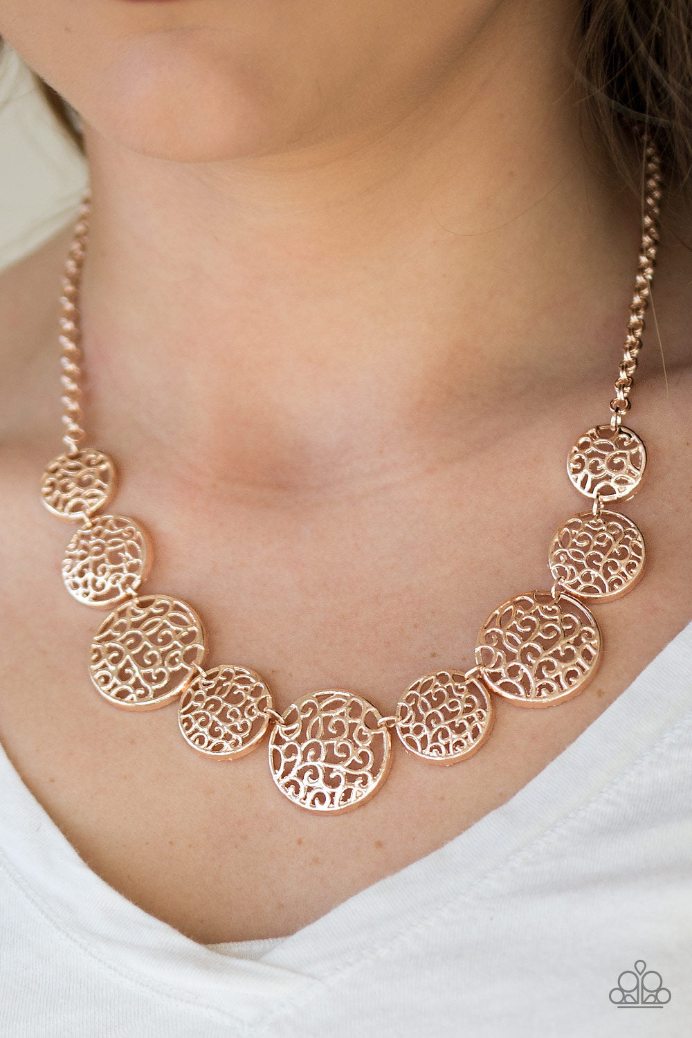 All the Time in the Whirl - rose gold - Paparazzi necklace