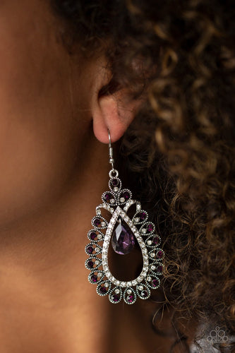 All About Business-purple-Paparazzi earrings