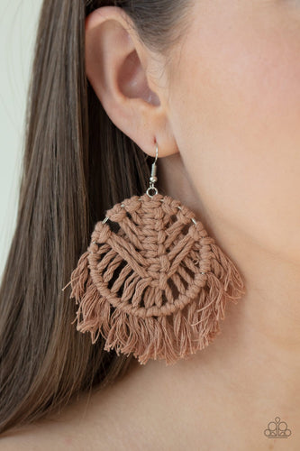 All About Macrame-brown-Paparazzi earrings