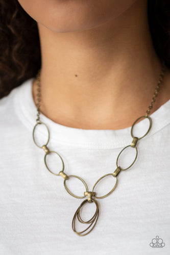 All OVAL Town-brass-Paparazzi necklace