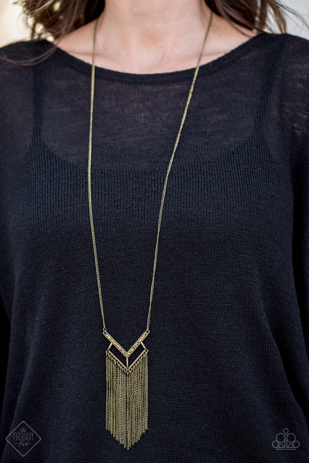 Alpha Glam - brass - Paparazzi necklace