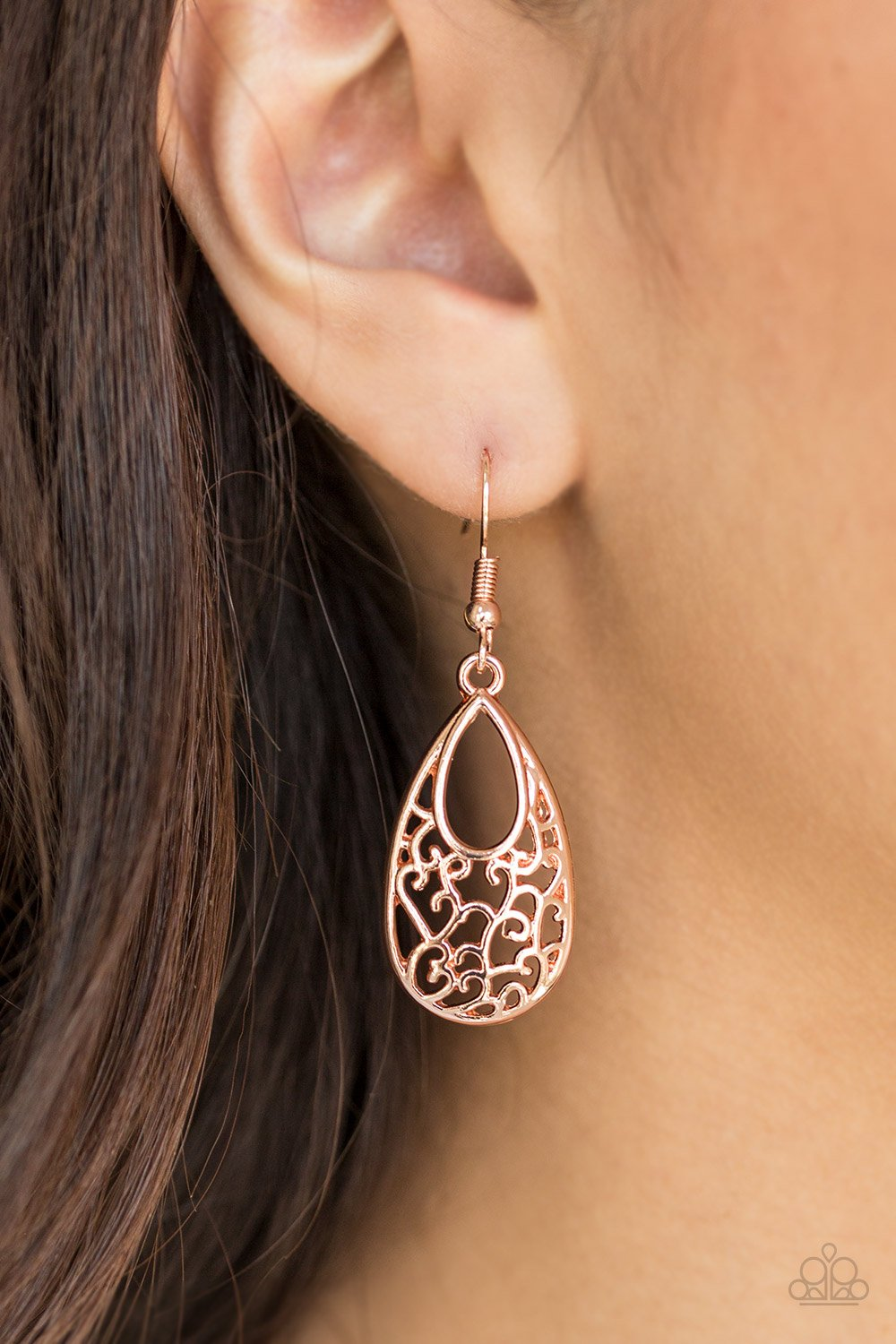 Always Be Vine - rose gold - Paparazzi earrings