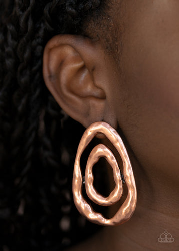 Ancient Ruins - copper - Paparazzi earrings