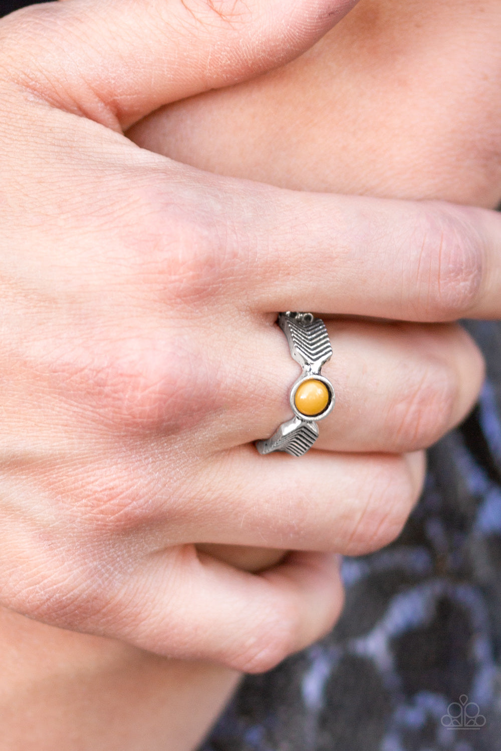 Awesomely Arrow-Dynamic - yellow - Paparazzi ring
