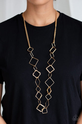Backed Into A Corner - gold - Paparazzi necklace