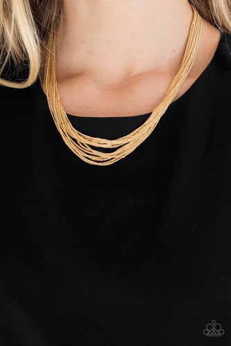 Backstage Bravado-gold-Paparazzi necklace
