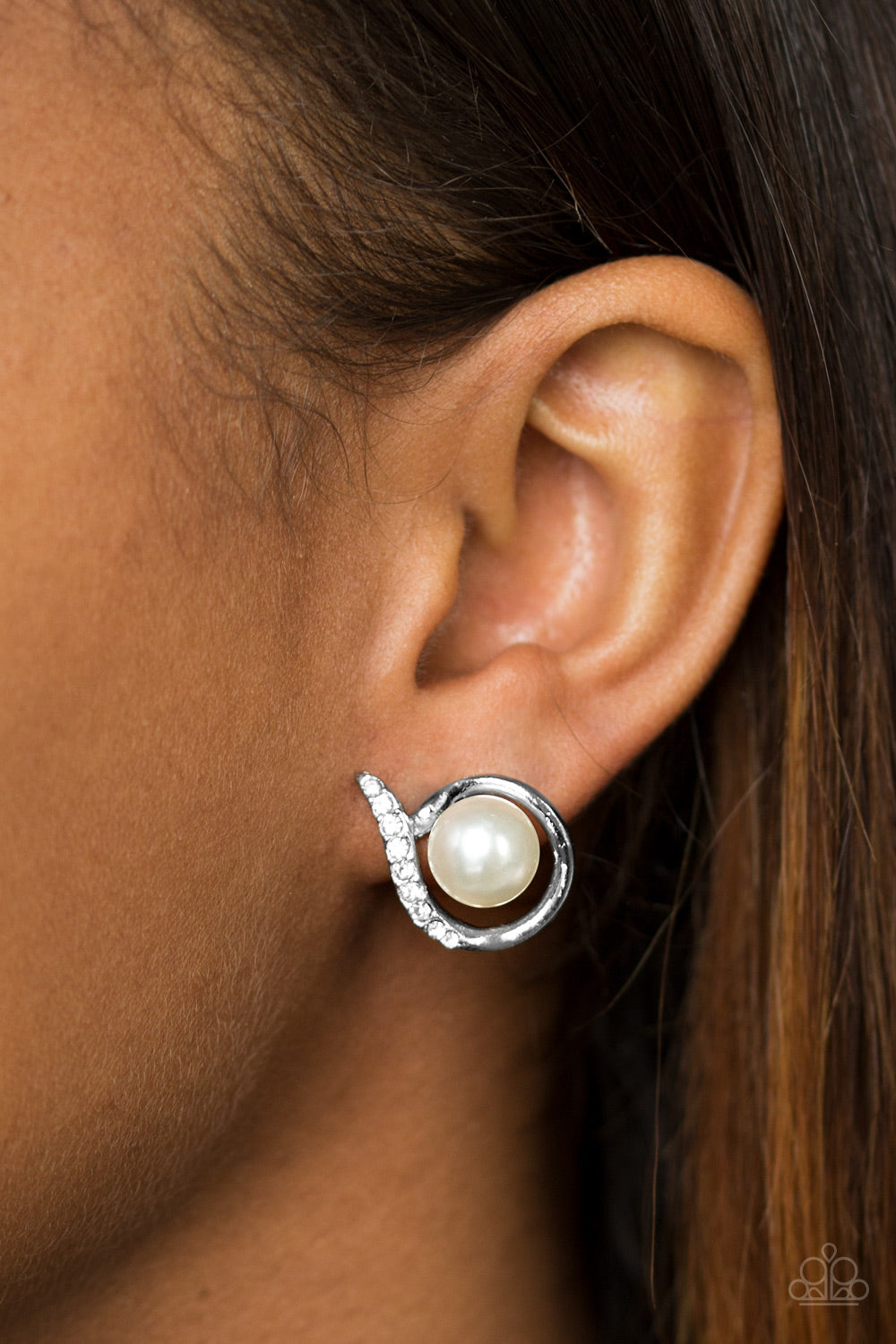 Ballroom Beauty - white - Paparazzi earrings