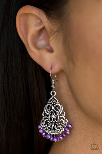 Baroque the Bank - purple - Paparazzi earrings