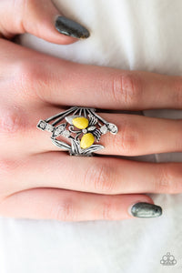 Beautiful in Butterflies - yellow - Paparazzi ring