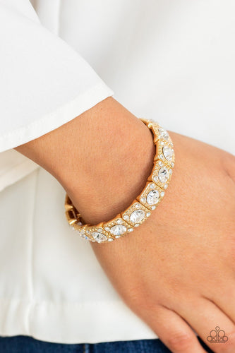 Blinged Out-gold-Paparazzi bracelet