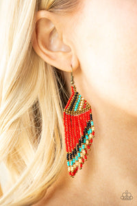 Bodaciously Bohemian - red - Paparazzi earrings