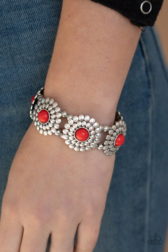 Bountiful Blossoms-red-Paparazzi bracelet