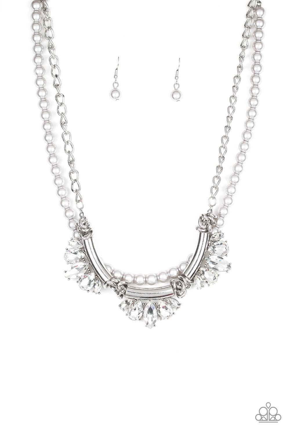 Bow Before the Queen-silver-Paparazzi necklace