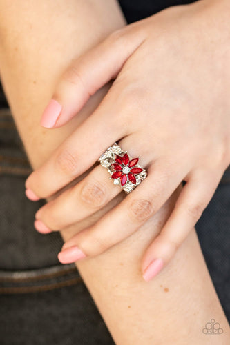 Brilliantly Blooming-red-Paparazzi ring