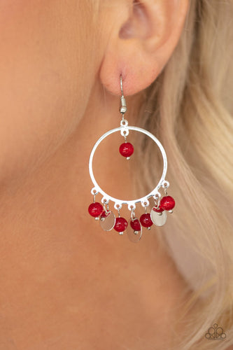 Bubbly Buoyancy-red-Paparazzi earrings