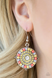 Caribbean Cruzin - yellow - Paparazzi earrings