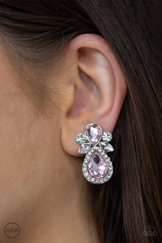 Celebrity Crowd-pink-Paparazzi CLIP ON earrings