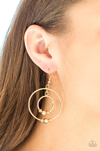 Center of Attraction-gold-Paparazzi earrings