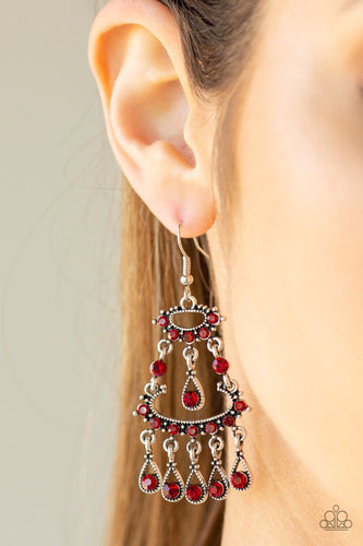 Chandelier Shimmer-red-Paparazzi earrings