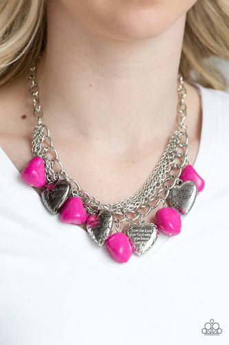 Change of Heart-pink-Paparazzi necklace