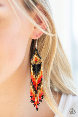 Colors of the Wind - black - Paparazzi earrings