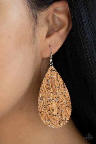 Cork It Over-silver-Paparazzi earrings