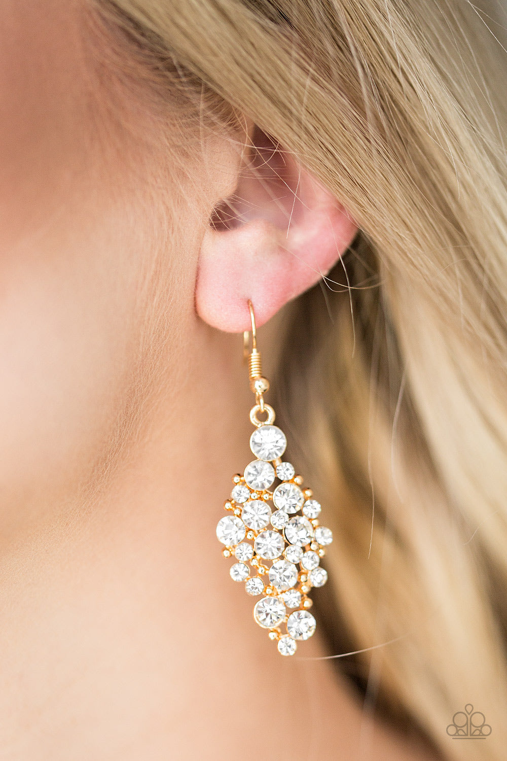 Cosmically Chic - gold - Paparazzi earrings
