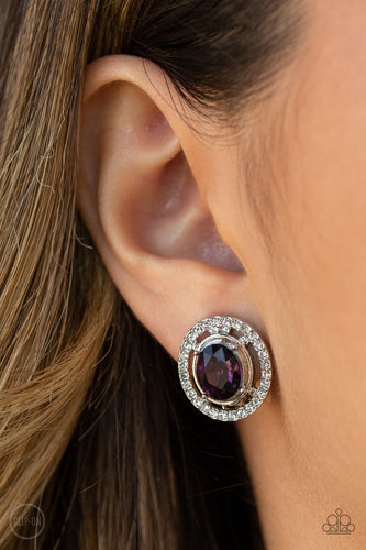Cost a Fortune-purple-Paparazzi CLIP ON earrings