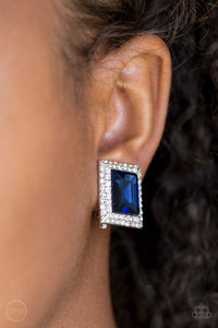 Crowned Couture - blue - Paparazzi Clip On Earrings