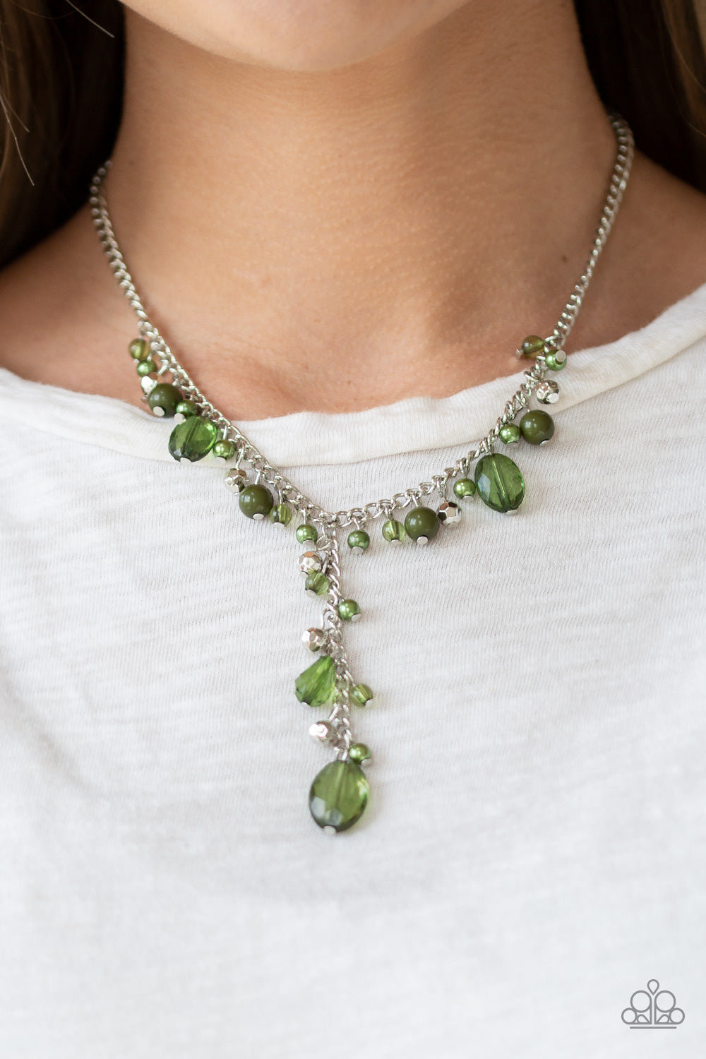 Crystal Couture Green Paparazzi Necklace - Marci Yoseph