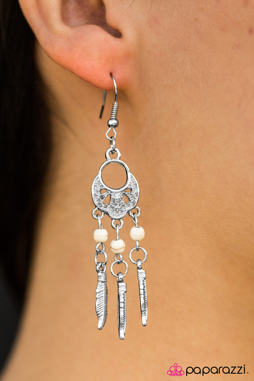Dakota Dreams - White - Paparazzi earrings