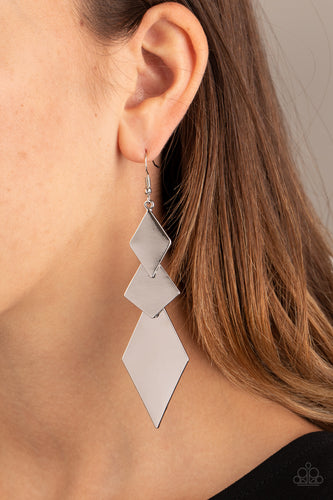 Danger Ahead - silver - Paparazzi earrings