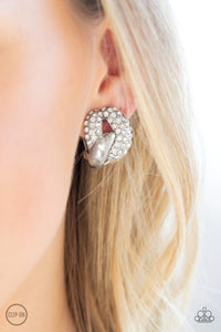 Definitely Date Night-white-Paparazzi CLIP ON earrings