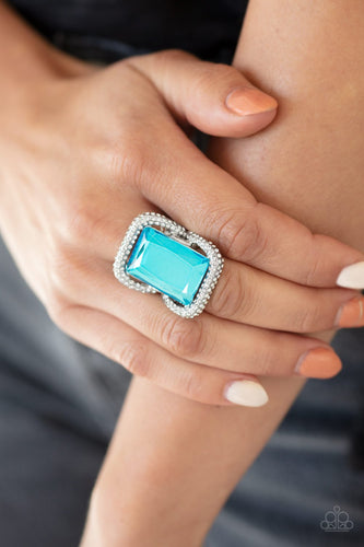 Deluxe Decadence-blue-Paparazzi ring
